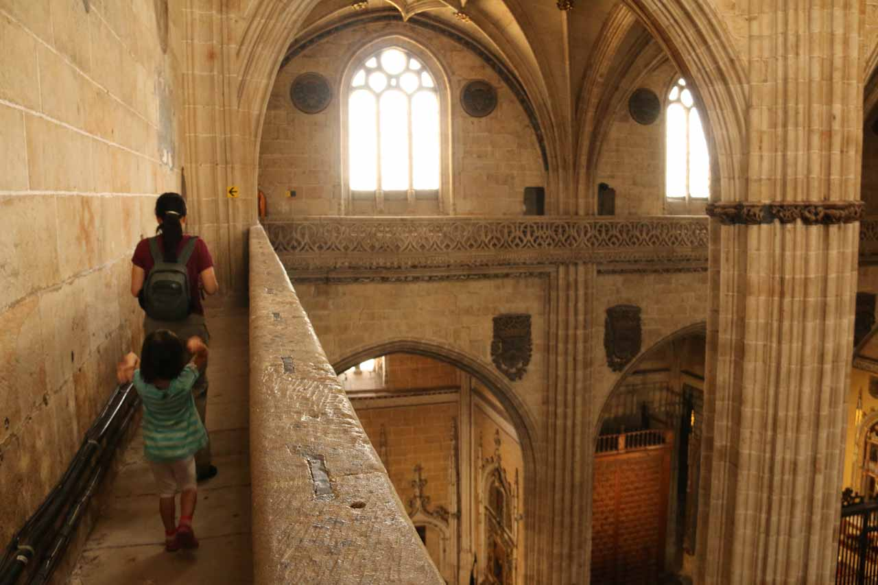 Julie walking on the high up ledges of the New Cathedral courtesy of Ieronimus