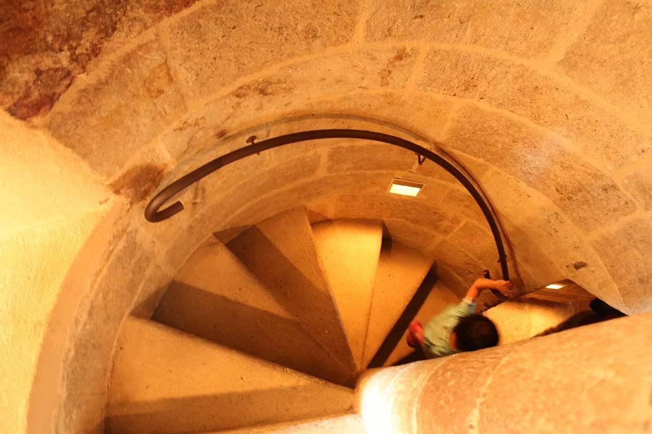 Tahia going down the spiral steps as we were leaving Ieronimus