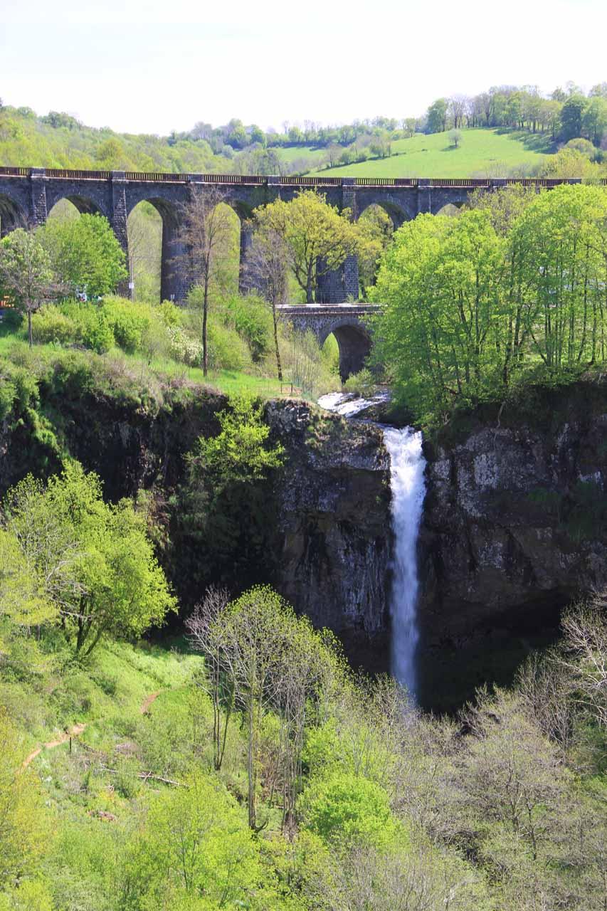 Closer look at the falls and bridges