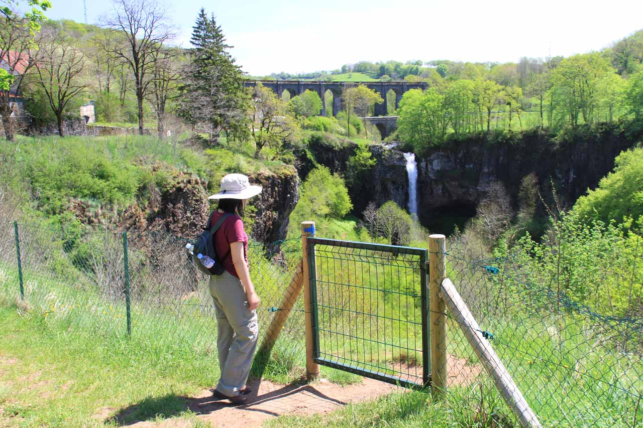 After the gate, the trail descends towards the back of the falls