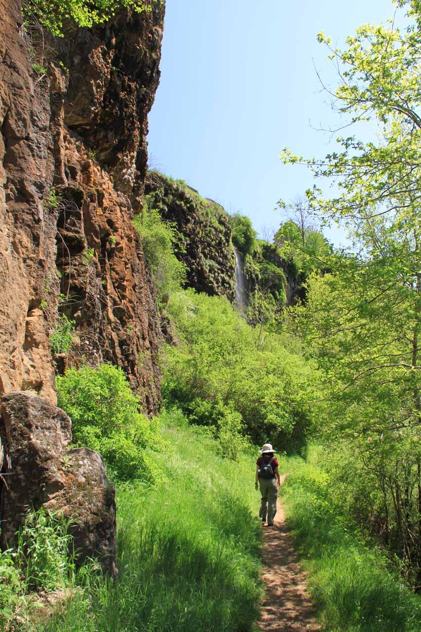 Going beneath some pretty steep cliffs