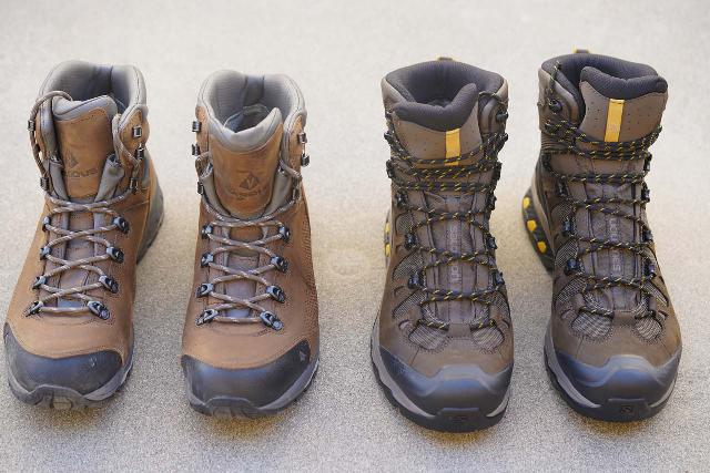 Comparing the Vasque St Elias GTX boot (left) and the Salomon Quest 4D 3 GTX boot (right), which had similar weight and sturdiness