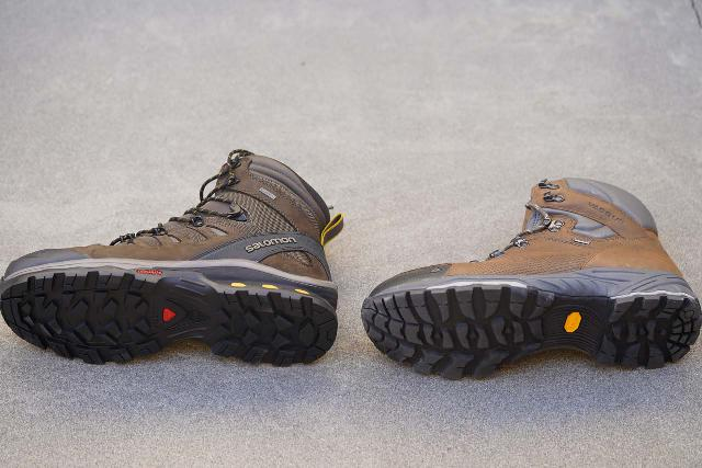 Comparing the sole and side of the Vasque St Elias GTX boot (right) versus the Salomon Quest 4D 3 GTX boot (left)