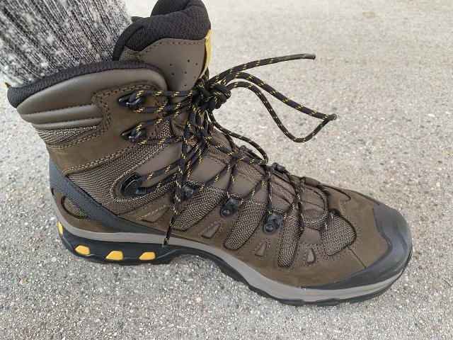 Looking closely at the mesh parts of the Salomon Quest 4D GTX Hiking Boot, which was breathable but not waterproof