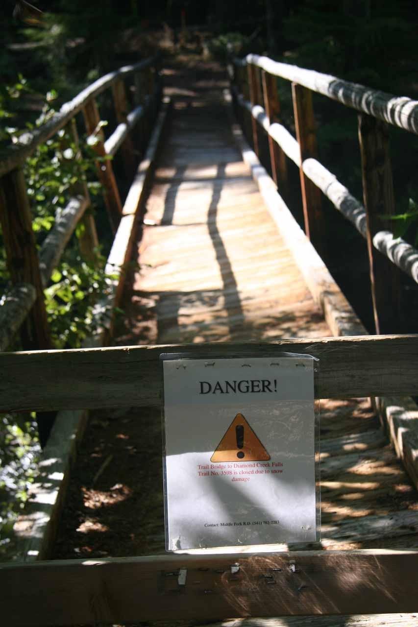 Diamond Creek Falls trailhead closure