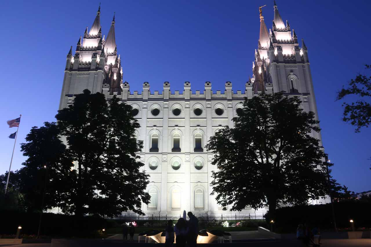 Temple Square at Twilight in downtown Salt Lake City