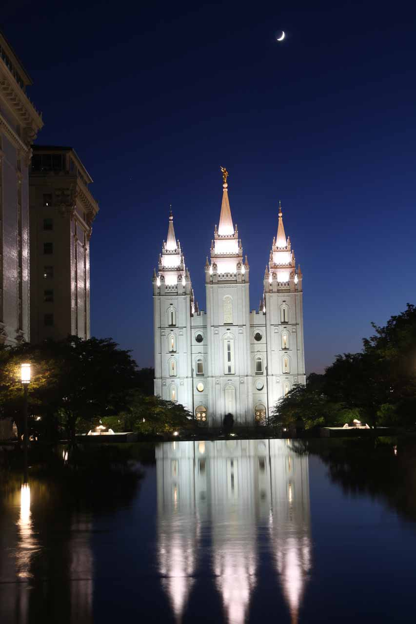 Bridal Veil Falls was roughly a 50-minute drive south of downtown Salt Lake City, which was most known for the beautiful Temple Square in the heart of the city's downtown area