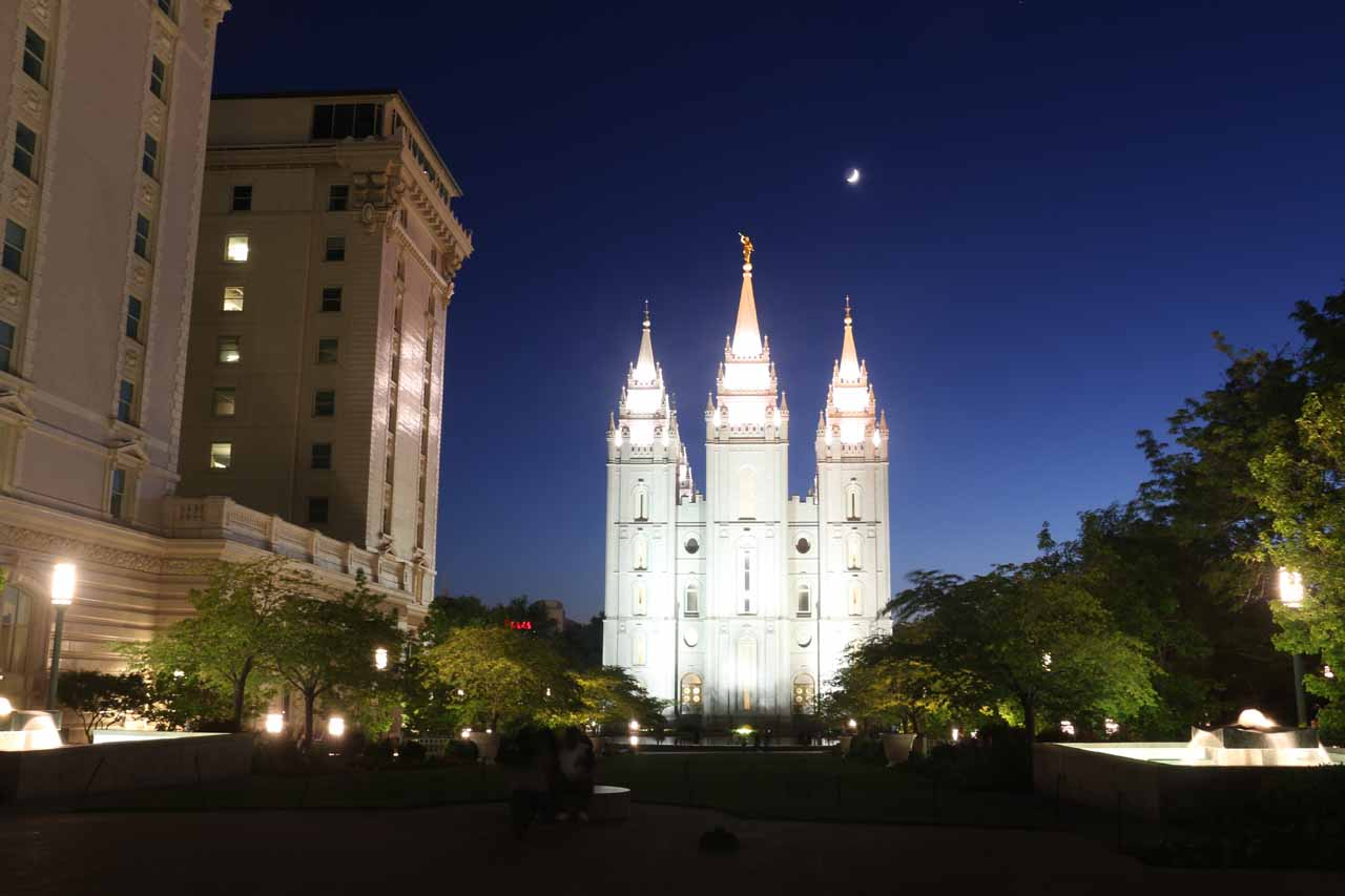 The Adams Falls Trailhead was roughly 30 minutes drive north of Salt Lake City, which was most known for the beautiful Temple Square in the heart of the city's downtown area