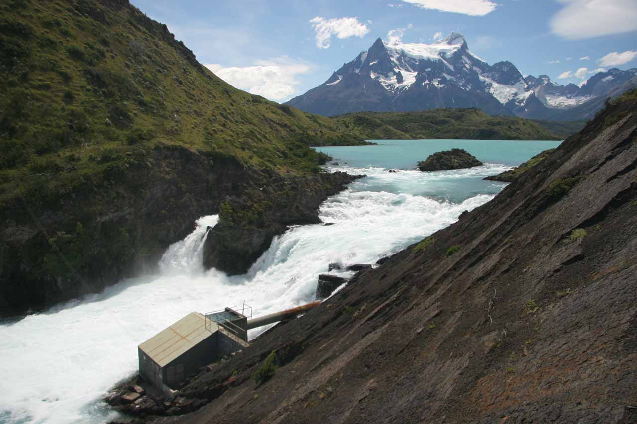 Looking over Salto Chico towards Lago Pehoe and the Paine Massif