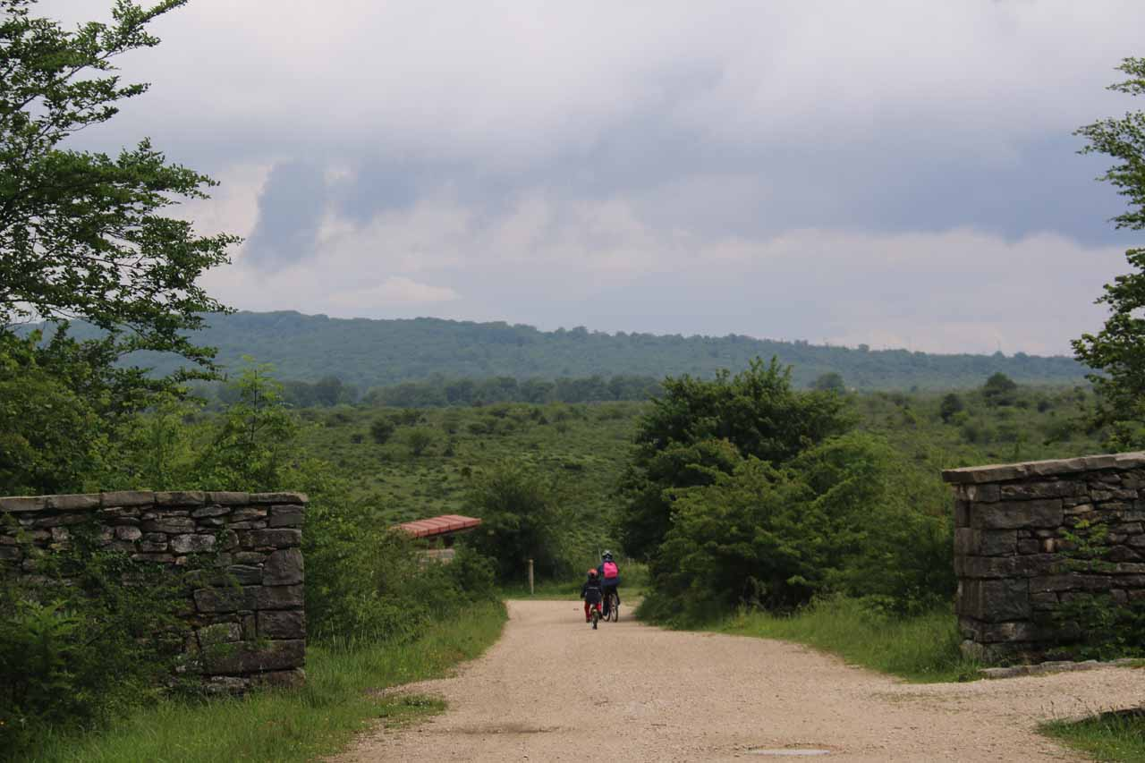 The wide and flat trail was also friendly to people riding bicycles like this family that passed me while dark skies threaten to dump rain