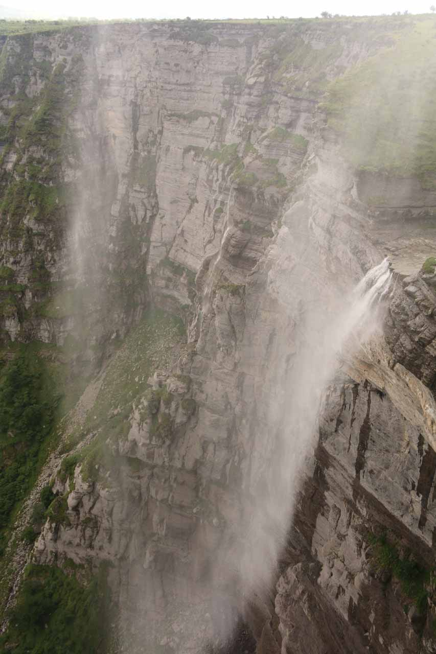 Salto del Nervion being blown back up by the strong winds