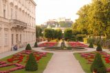 Salzburg_524_07032018 - Looking back across a side part of the Mirabell Gardens with the Festung Hohensalzburg in the distance