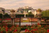 Salzburg_569_07032018 - Looking towards the Festung Hohensalzburg from the center of the Mirabell Gardens right in front of the building