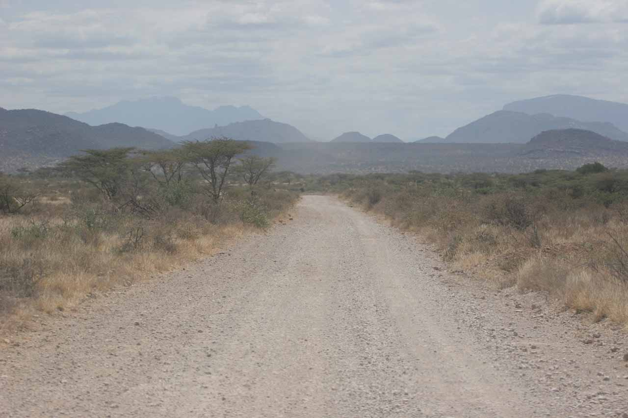 Traveling through the dry, dusty landscape of Samburu National Park