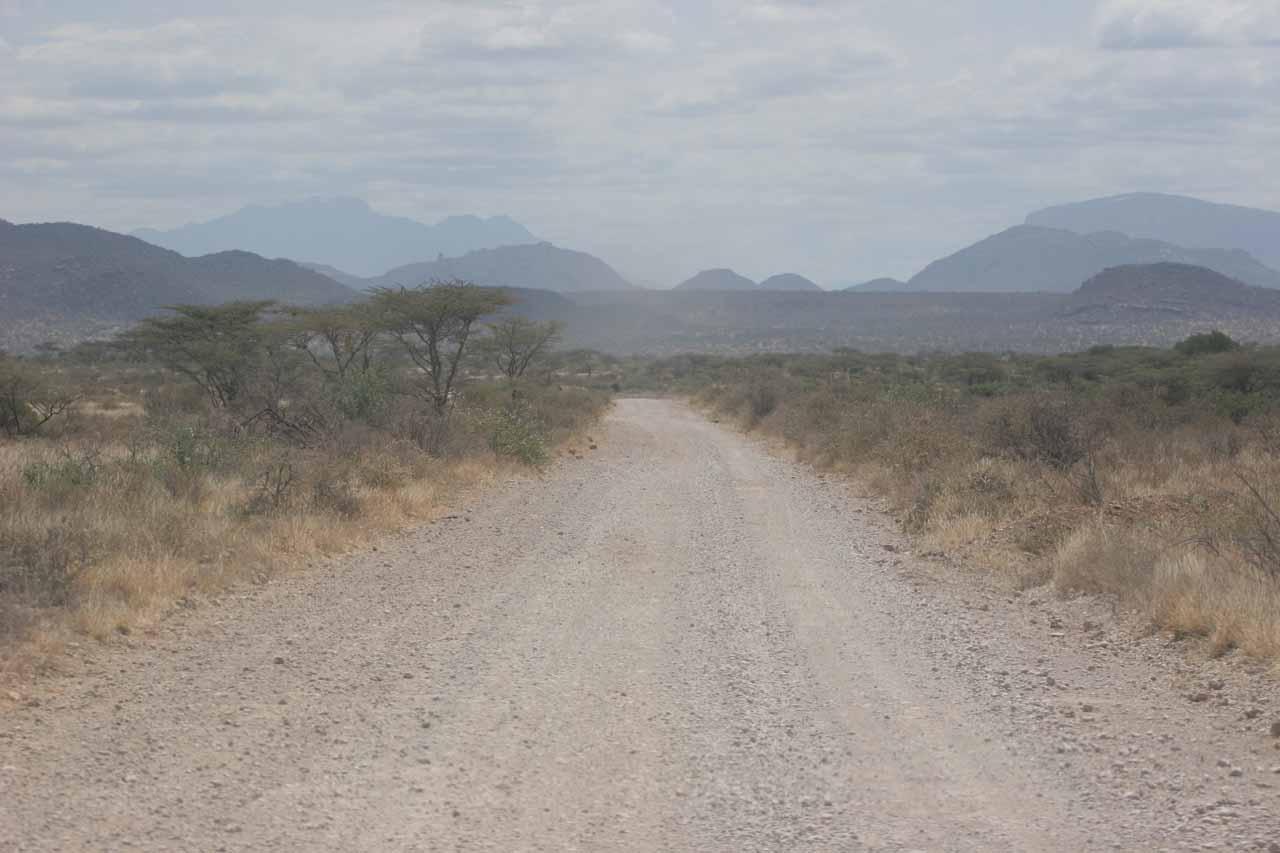 Traveling through the dry, dusty landscape of Samburu National Park