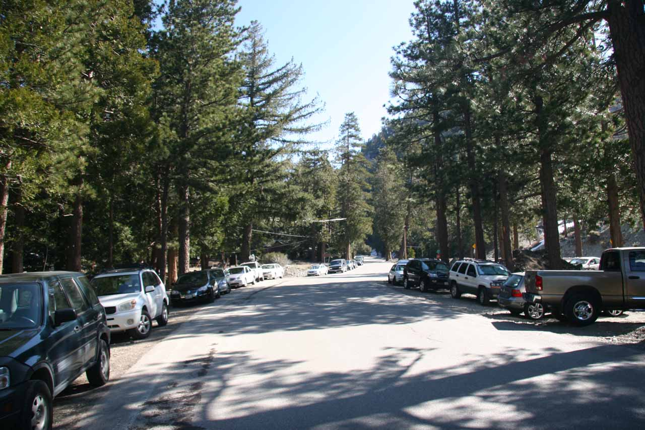 Parked vehicles on Mt Baldy Road