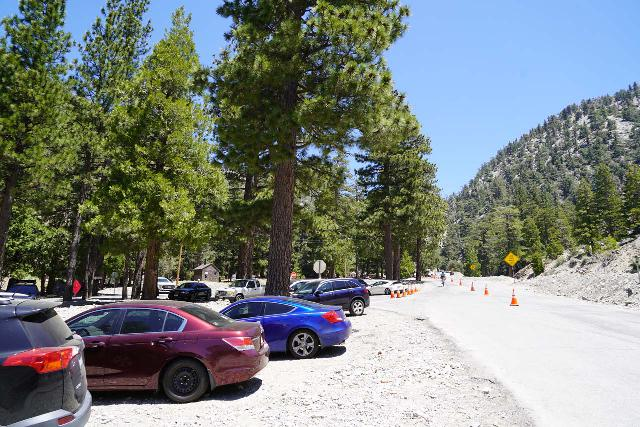 San_Antonio_Falls_002_05082020 - Parked on the uphill side of Mt Baldy Road at Manker Flats when the downhill side was closed due to tree cutting activities right around the time when COVID-19 restrictions were easing in May 2020