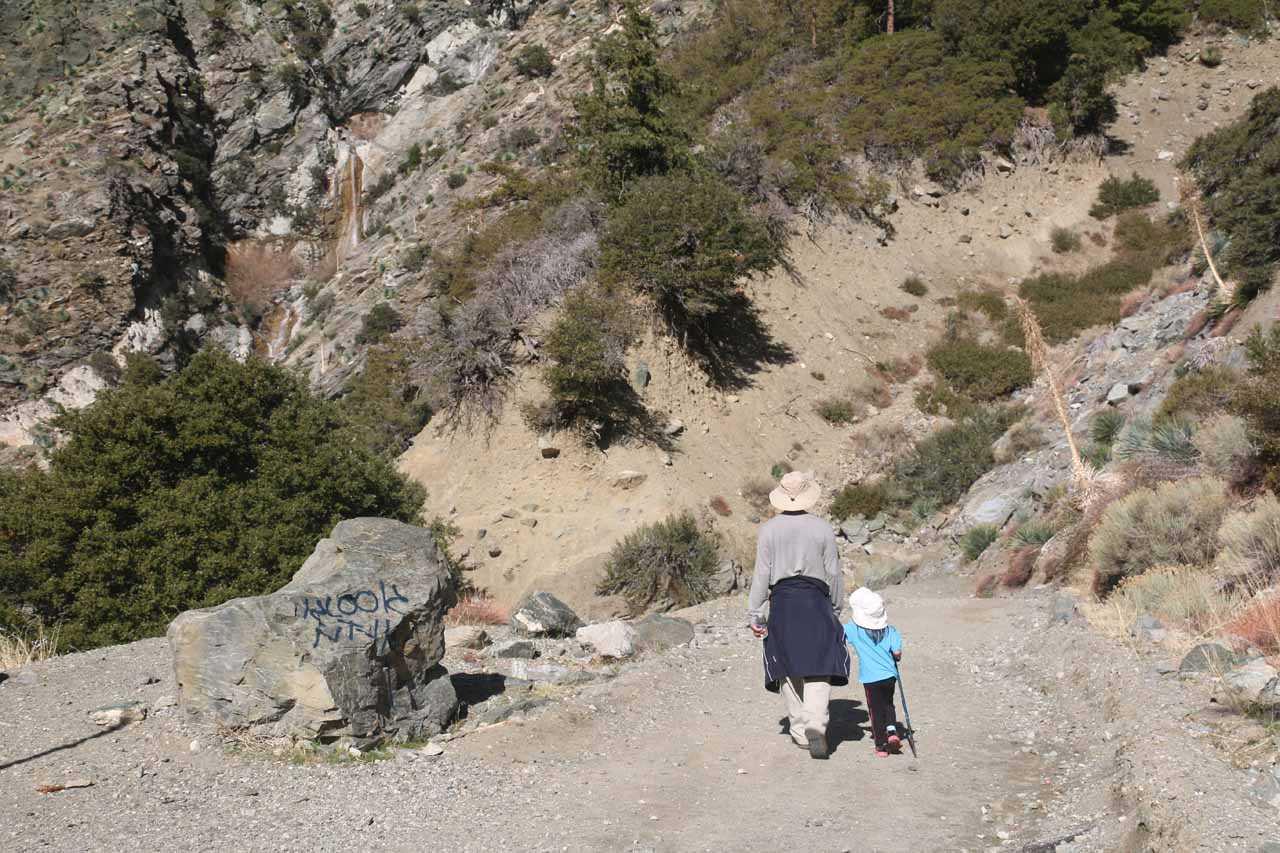 A Grandpa and Daughter moment as they approached the base of San Antonio Falls
