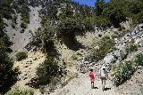 San_Antonio_Falls_071_05082020 - Tahia and Julie continuing towards the eroded section of the scramble to the base of San Antonio Falls in May 2020
