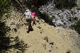 San_Antonio_Falls_160_05082020 - Julie and Tahia going back across the eroded scramble on the way back from San Antonio Falls during our May 2020 hike