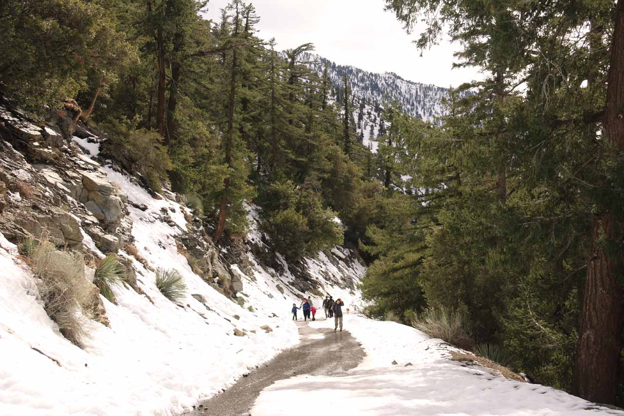 Walking on a trail full of snow towards San Antonio Falls