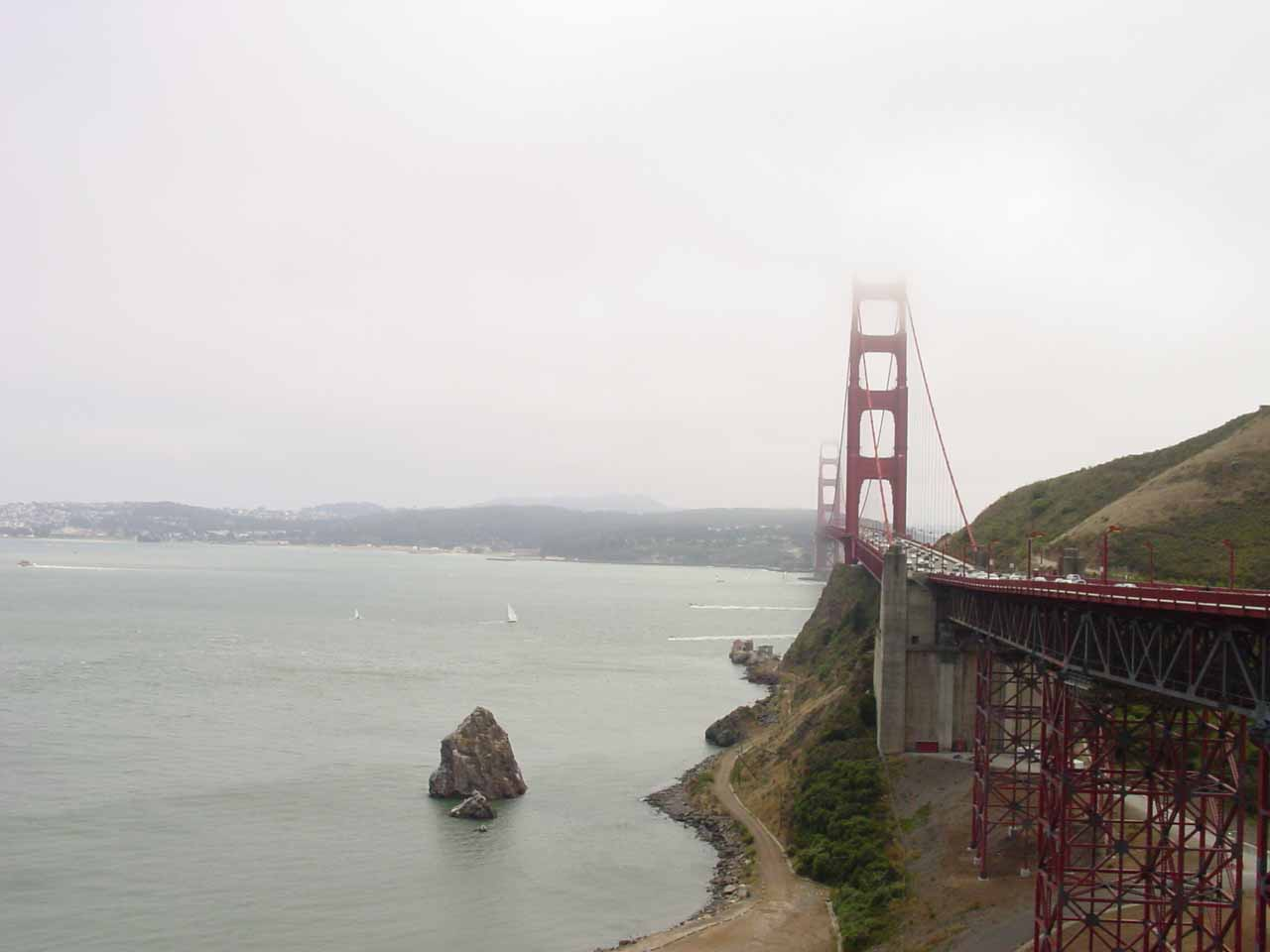 Going to Larkspur from San Francisco meant driving across the iconic Golden Gate Bridge. The Tamalpais Drive exit was roughly 8 miles north of this bridge