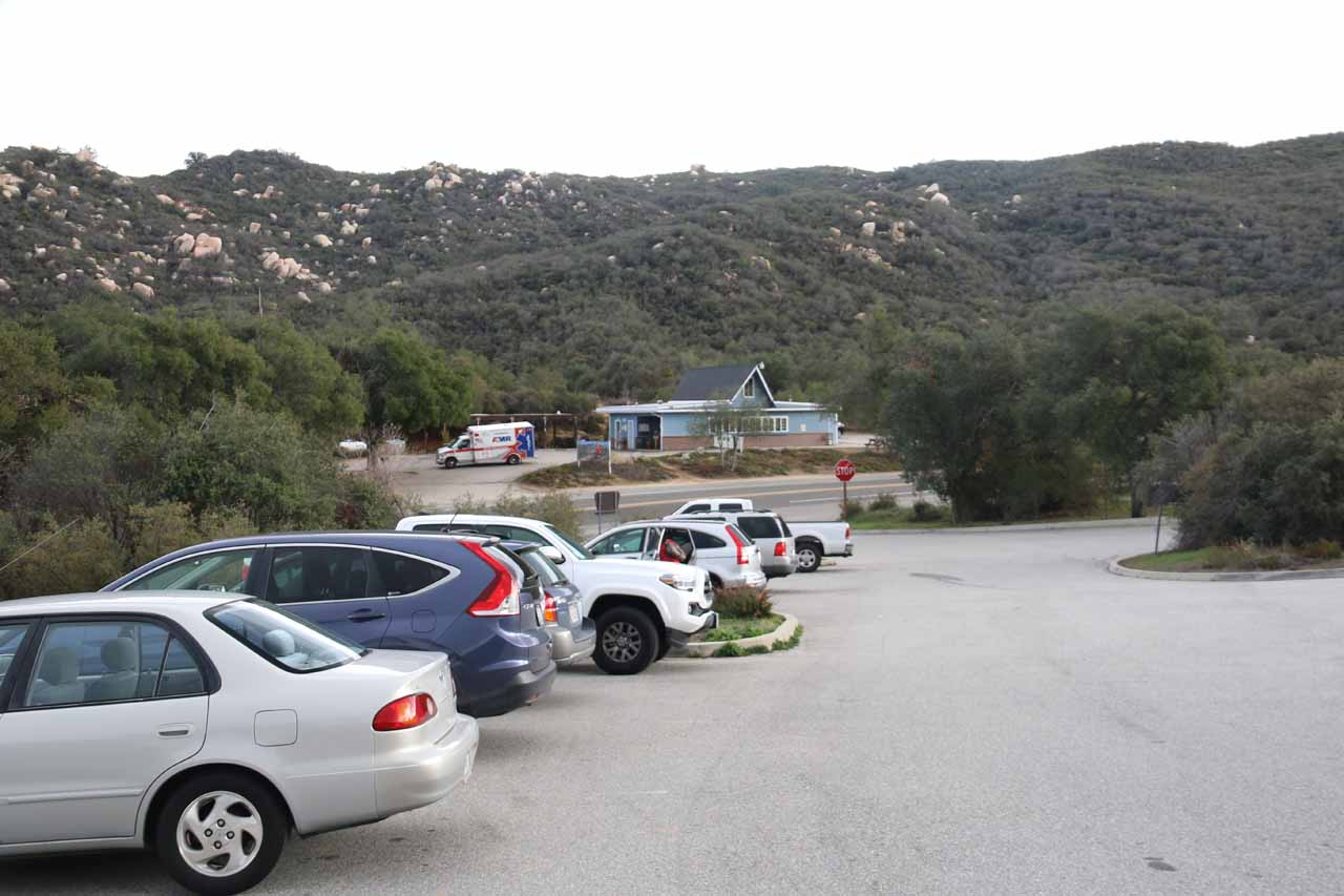 Looking back across the car park towards its entrance as well as the Ortega Oaks Candy Store right across the Hwy 74