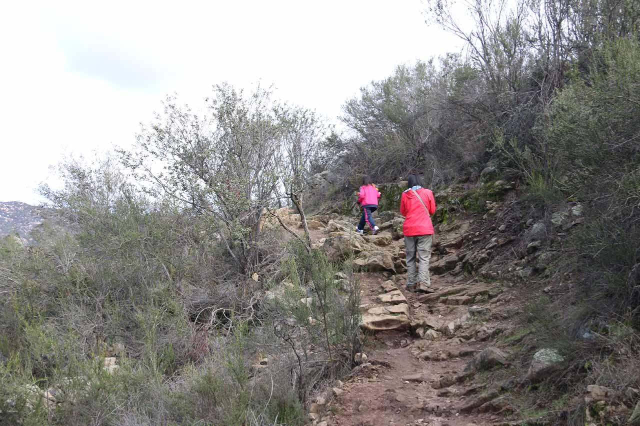 Julie and Tahia hiking back from San Juan Falls