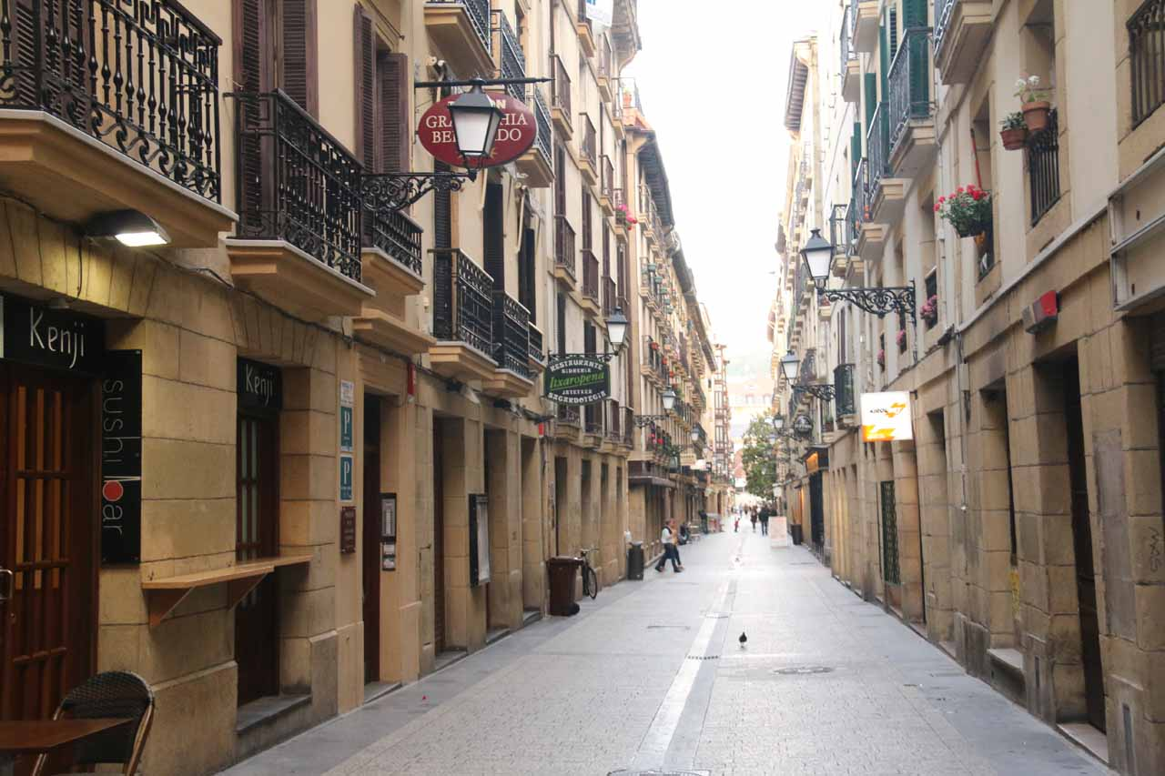 Walking the charming streets of the Casco Viejo of San Sebastian looking for a place to eat for dinner