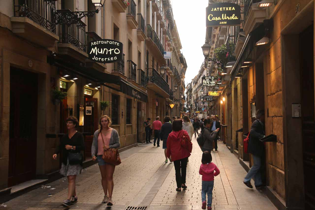 Julie and Tahia still leading the way looking for a place to eat for dinner in San Sebastian