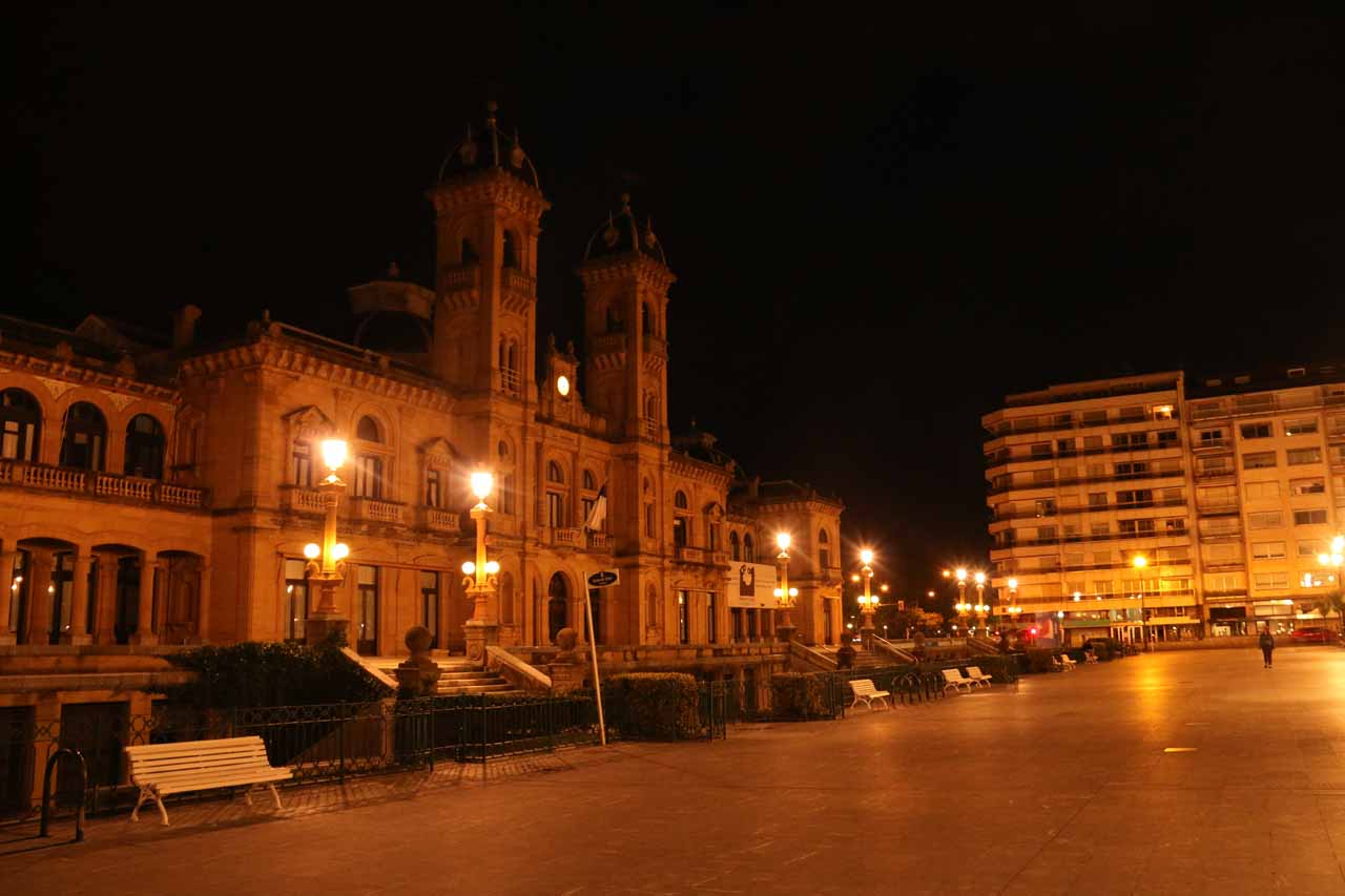 Night time by the Ayuntamiento in San Sebastian where Tahia briefly played in the playground here