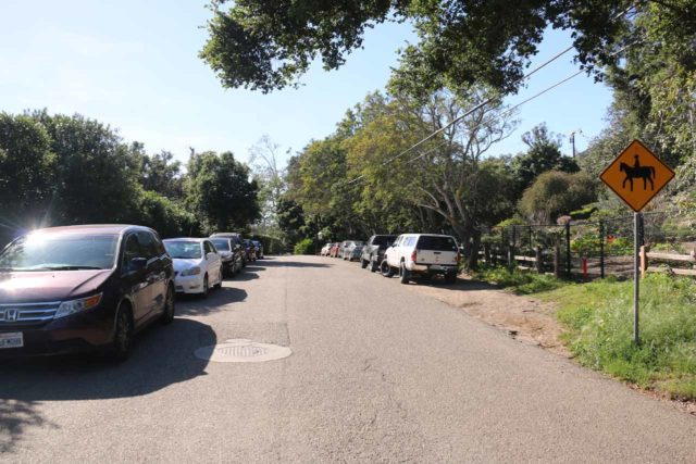 San_Ysidro_Falls_001_04012017 - The street parking situation along East Mountain Drive when I got started on my afternoon hike to the San Ysidro Falls
