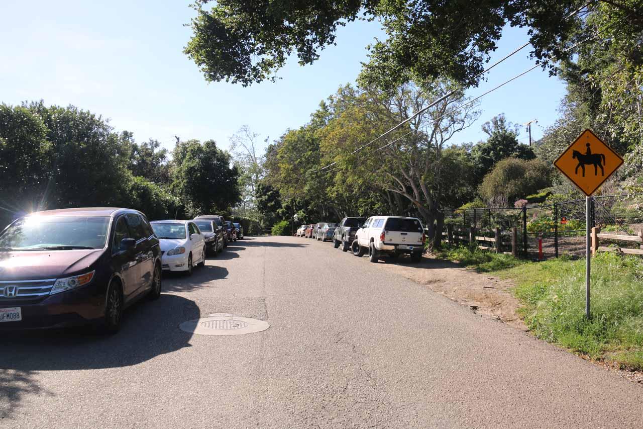 Street parking near the trailhead for the San Ysidro Trail