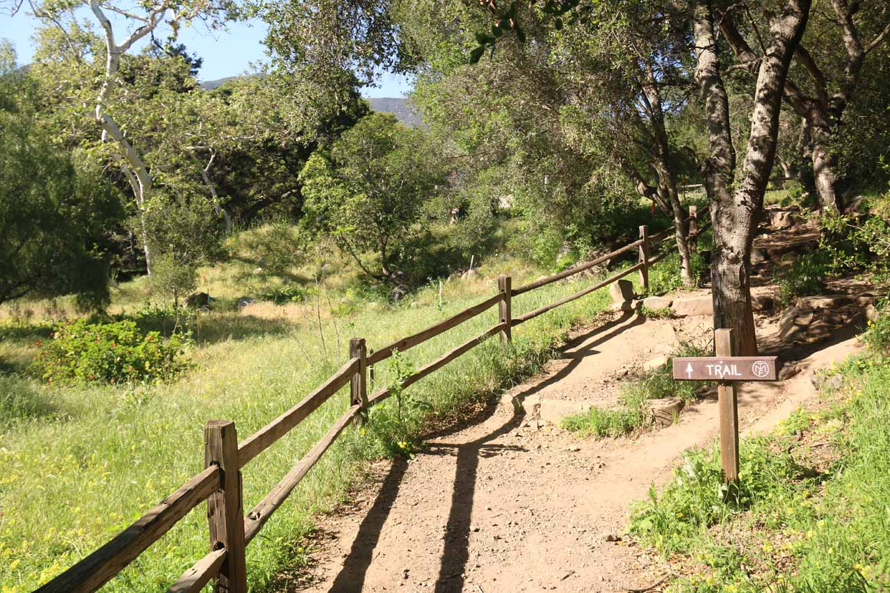 Following the San Ysidro Trail between private yards in the beginning
