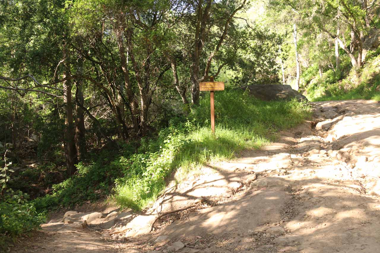 One of the trail junctions along the San Ysidro Trail