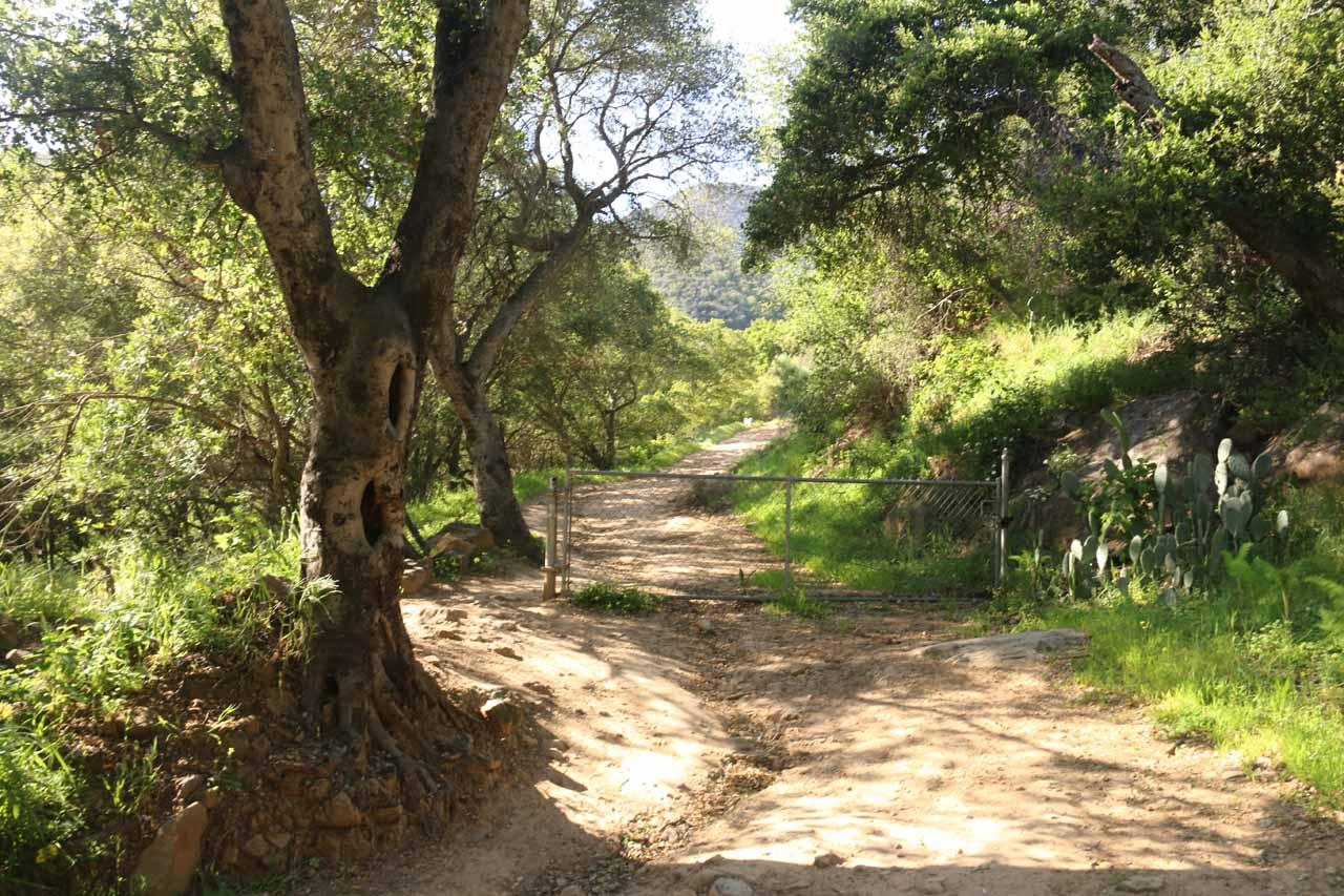 Crossing this gate along the San Ysidro Trail