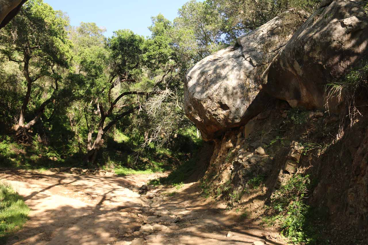 Interesting rock formations flanking the San Ysidro Trail