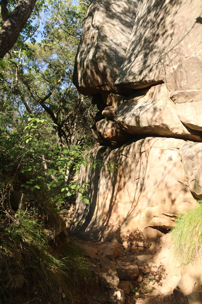 Interesting rocks and cliffs alongside the San Ysidro Trail as it was ascending