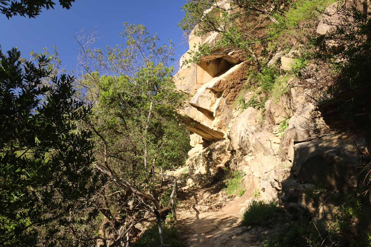 More interesting and precarious overhanging rocks hovering over the San Ysidro Trail