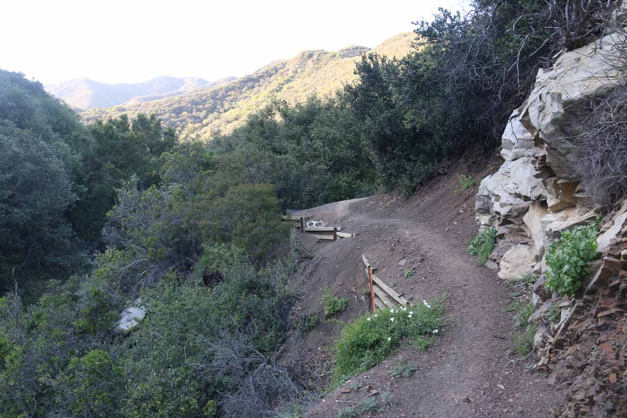 Some trail erosion near the brink of the San Ysidro Falls