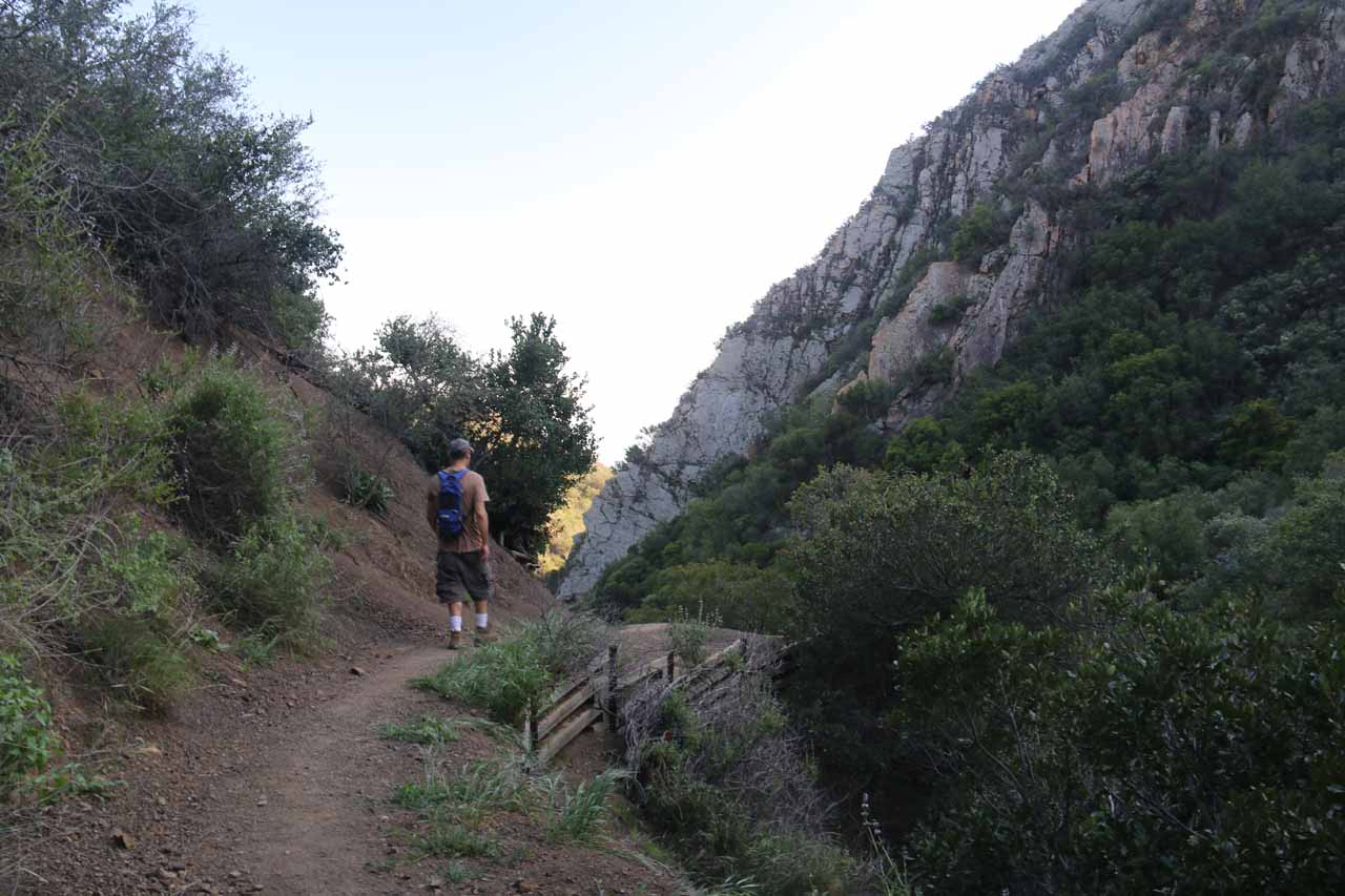 The hiker that I spoke to making his way past the eroded part above the San Ysidro Falls