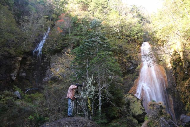 Sanbon_Falls_063_10192016 - One of the early bird photographers standing on a rock between the middle and leftmost of the Sanbondaki Falls