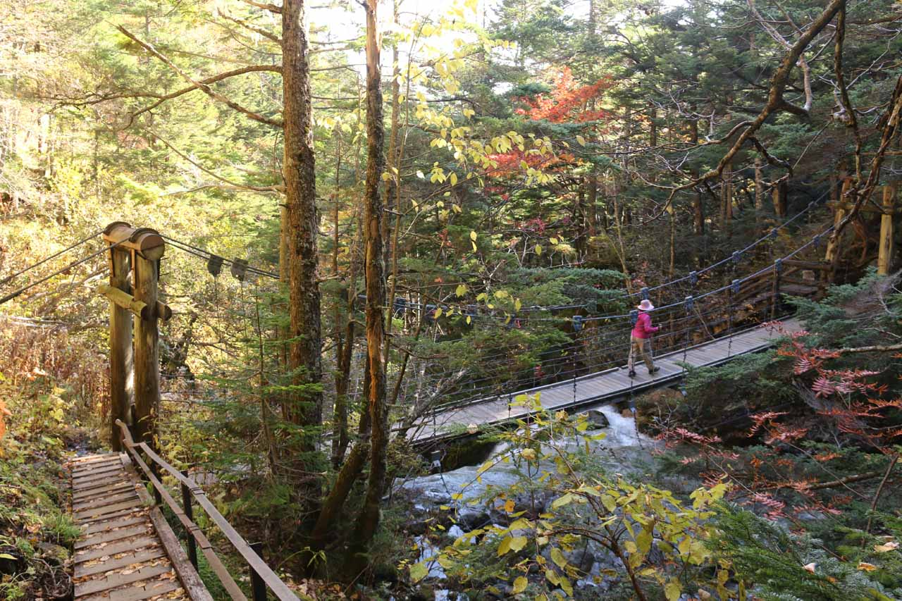 Looking back at the suspension bridge right at the brink of one of the intermediate cascades on the Koonogawa as we were hiking back to the trailhead