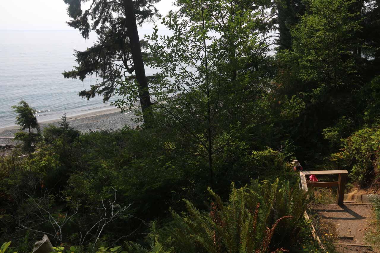Descending towards Sandcut Beach as the Strait of Juan de Fuca came into view