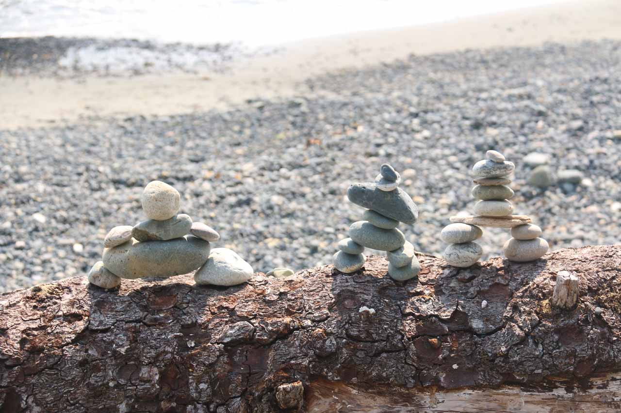 The Inukshuk symbol at Sandcut Beach in Vancouver Island