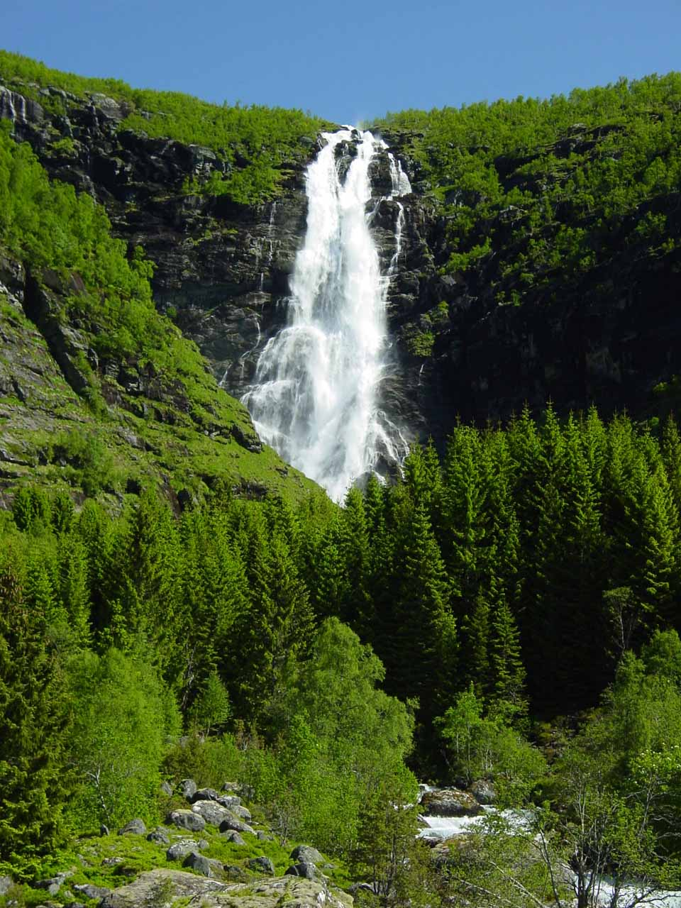 An even more zoomed in look at Sanddalsfossen from as far as we could get from the property