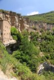 Sant_Miquel_de_Fai_116_06202015 - Another look back across the overhanging cliffs where some of the buildings of the Sant Miquel del Fai were built atop