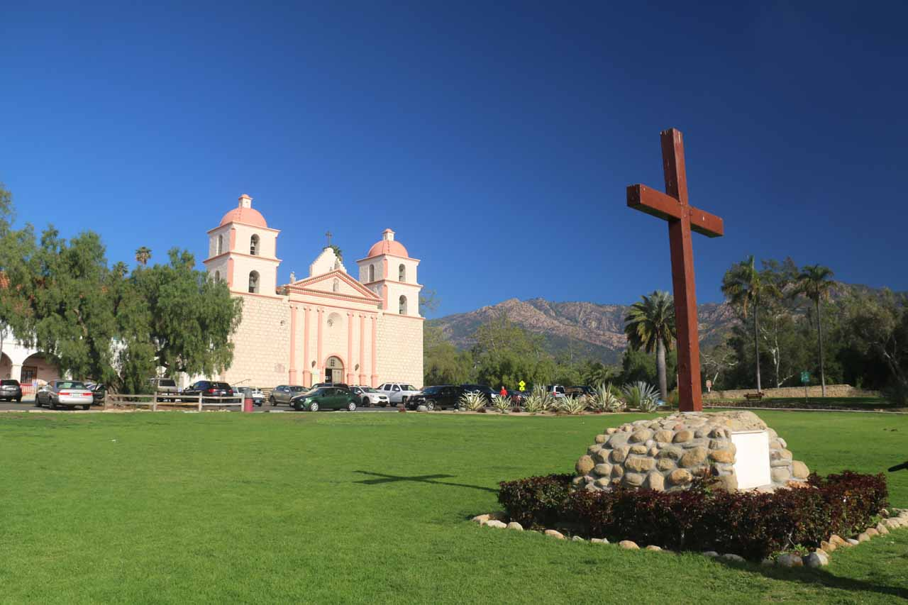 The cross and facade of the Old Mission