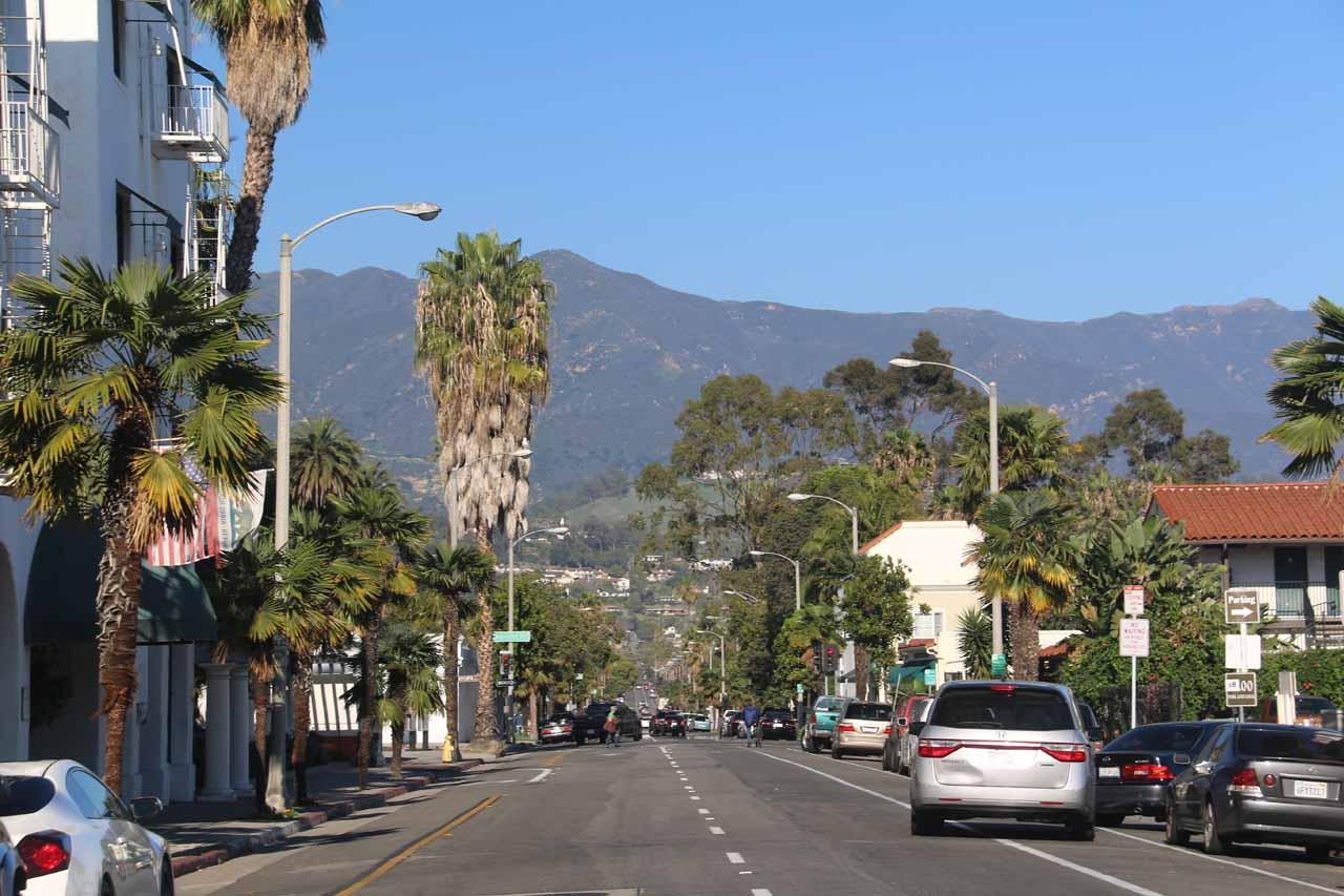 Beautiful day looking back towards the mountains backing Santa Barbara
