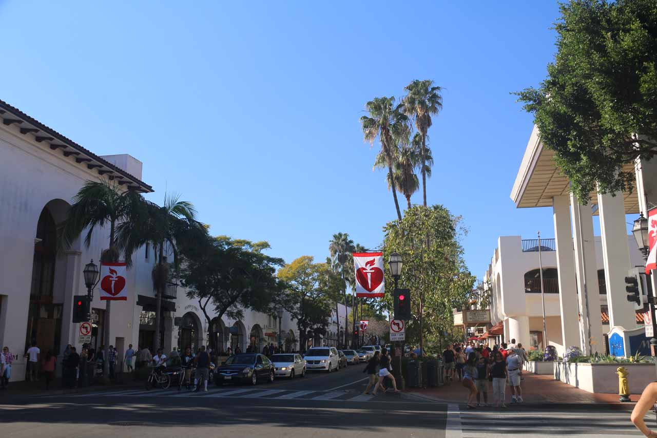Seven Falls was further inland from the city of Santa Barbara, but the city did a great job of retaining that Spanish charm. This is a view of State Street - the main throughfare of downtown